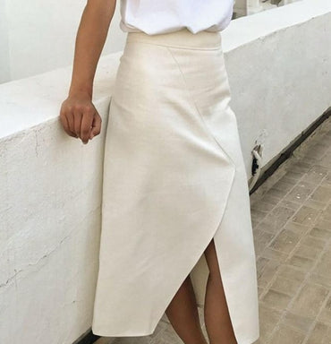 A-line solid midi skirts