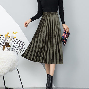 All-match Gold Velvet Solid Color High Waist Skirt