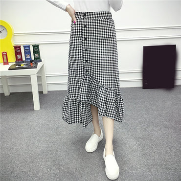Black White Plaid Long Ruffled High Waist Skirt