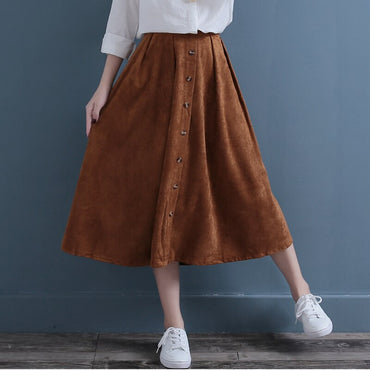 Vintage Solid Color Literature Tall Waist Skirt