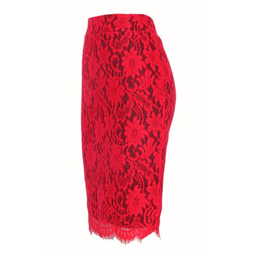 Red Sexy Party Embroidery Lace Pencil Office High Waist Skinny Bodycon Vintage Midi Skirts