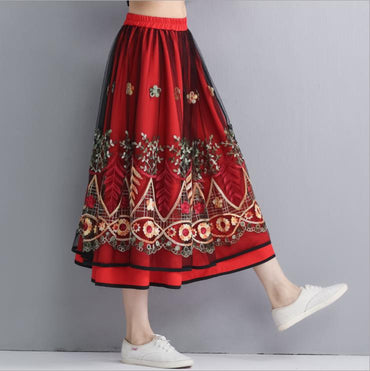 literary retro national wind embroidery flower mesh skirt