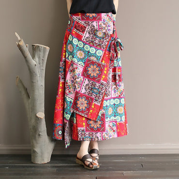Ethnic  cotton and linen lace-up one-piece skirt