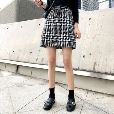 A-line Plaid  Vintage Bow tie Skirt