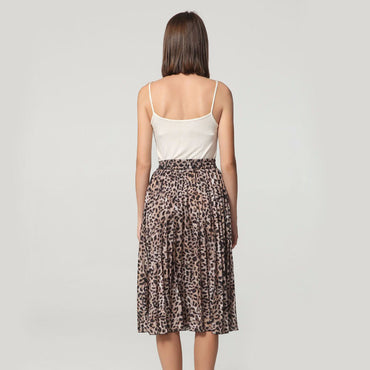 Vintage Leopard Print Pleated Midi Skirt