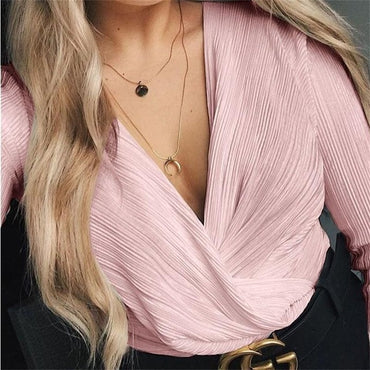 Sexy Long Sleeve V Neck Bodysuit