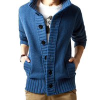 Casual Slim Loose Collar Button Knit Solid Color Sweater