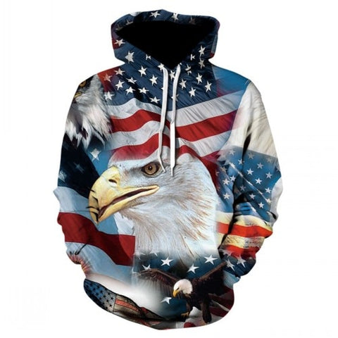 3D fun design USA flag hoodie