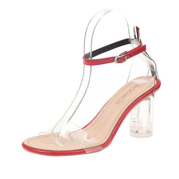 Celebrity Wearing Simple Style PVC Clear Transparent Strapy Buckle Sandals