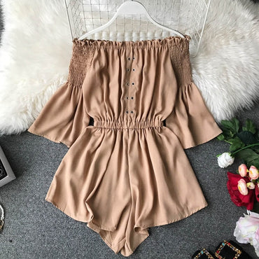 Lace Up Off Shoulder Jumpsuit Casual Sexy  Flare Sleeve Short  Romper