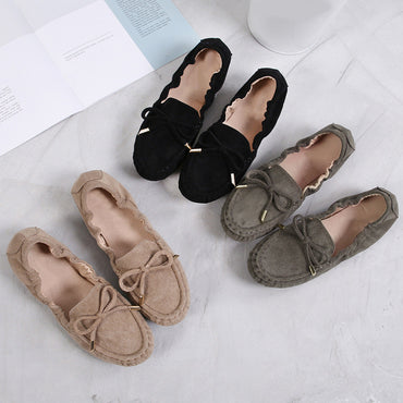 Bowtie Female Moccasins Slip On Fashion Suede  Shallow Flats Shoes