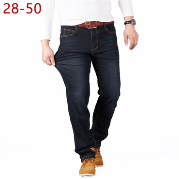 Stretch Straight Long Loose Casual Black Blue Denim Jeans