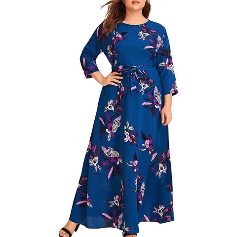 Casual Floral Print O-Neck Long Sleeve Bandage long Dress