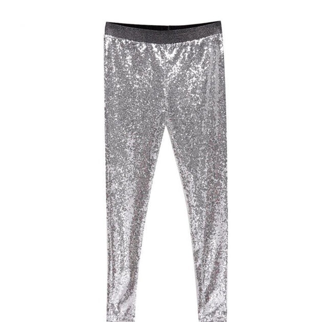 Stretchable Sparkle Metallic Shinning Full Sequined Pants Slim Skinny Pencil Pants legging