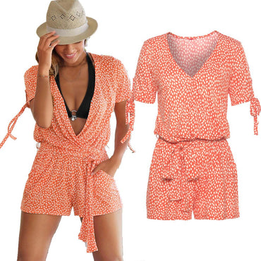 Bandage Short Sleeve V-Neck Pocket Printed Rompers