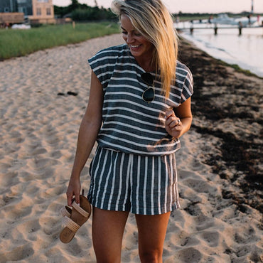 Casual Striped Lace Up Playsuit Short Jumpsuits  Romper