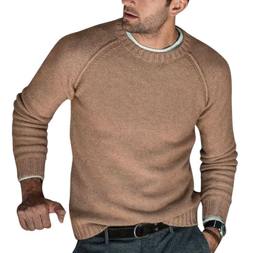 Warm Wool Knitted Pullovers  Long Sleeve Solid Color Soft Slim Fit Casual Sweaters