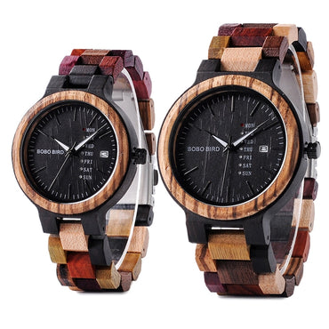 Wood Watch Men Women Quartz Week Date Timepiece Colorful Wooden