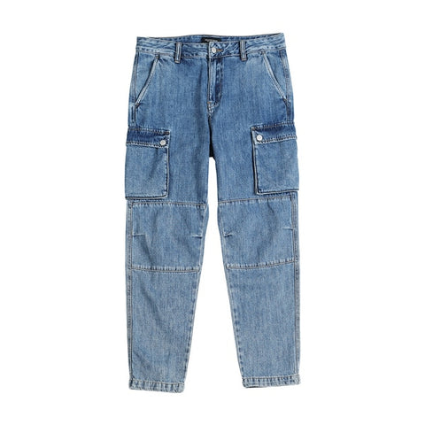 hip hop Spliced street wear ankle -length denim pants jeans
