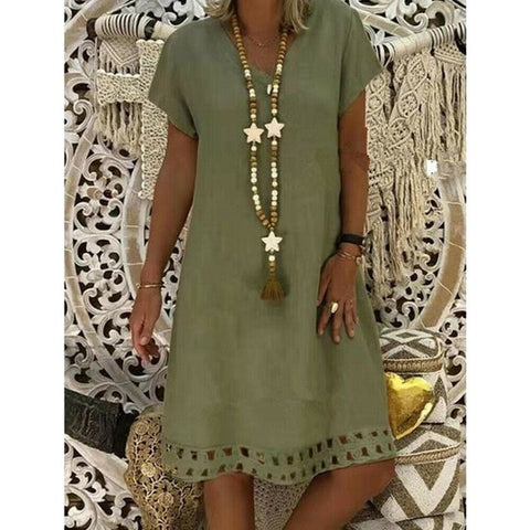 Short Sleeve Solid V Neck Cotton Linen Casual  Dresses