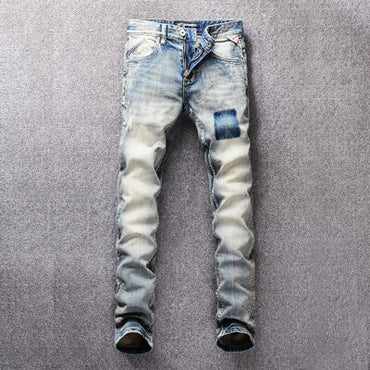 Light Color Retro Washed Slim Fit Little Elastic Ripped Jeans