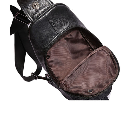 Leather Cowhide Fashion Chest Pack Sling Back Pack Riding Cross Body handbags