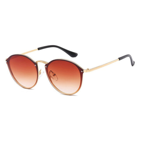 Retro Mirror Pink Round Sunglasses
