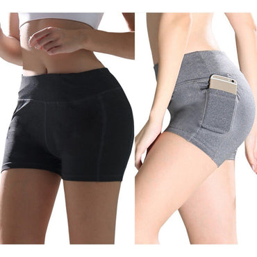 Solid High Waist Elastic Pocket Stitching Hip Bottoming Shorts