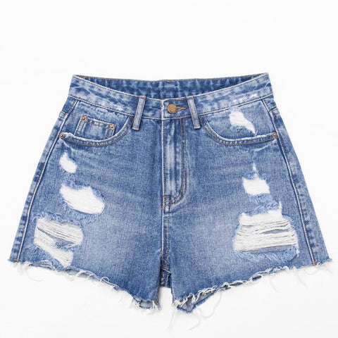 High Waist  Solid Jean Shorts