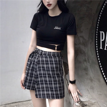 Plaid High Waist Shorts