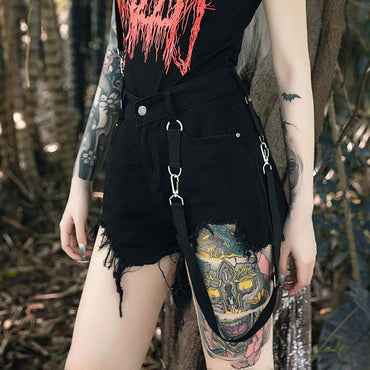 Casual Punk Sexy Club Gothic Chic Black Shorts