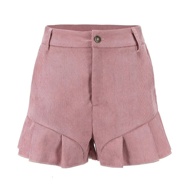 High Waist Flare Korte Broek Dames Ruffles Short