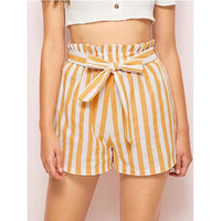 Bottom Casual Beach High Waist Striped Slim Sexy  Short