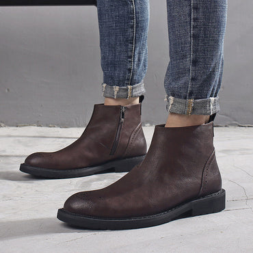 Casual Leather Ankle Boots