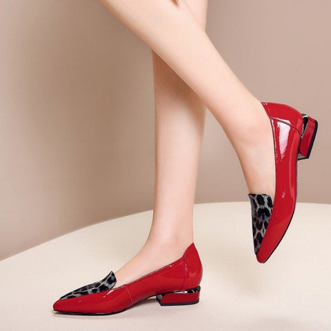 Red Black Patent Leather Leopard Flat Shoes