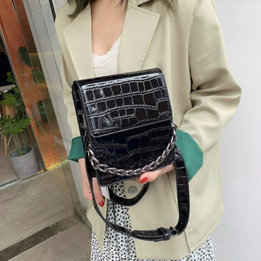 Green Crossbody Bag Soft PU Leather Chain Handbag