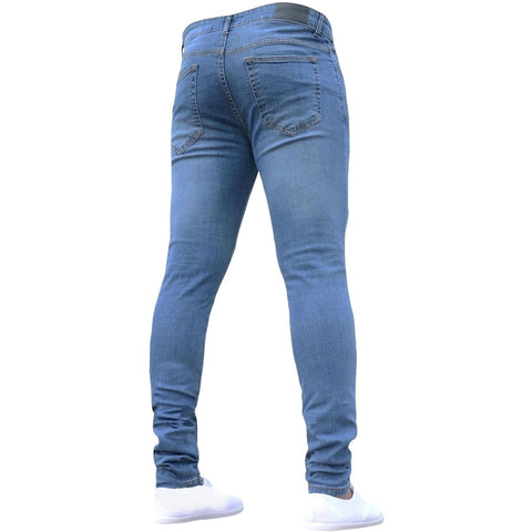 Solid Ripped Skinny Biker Zipper Pure Color Denim Cotton Vintage Wash Hip Hop Work Trousers Jeans