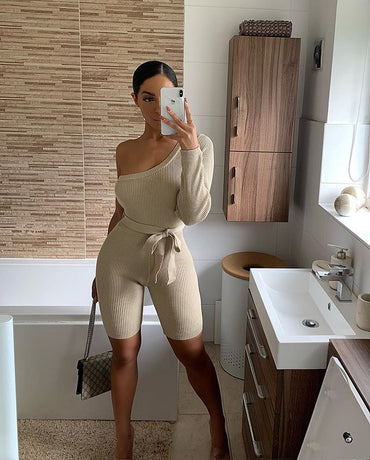 Khaki One Shoulder Jumpsuits