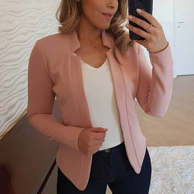 Solid Color Short Suit  Jacket & Coat