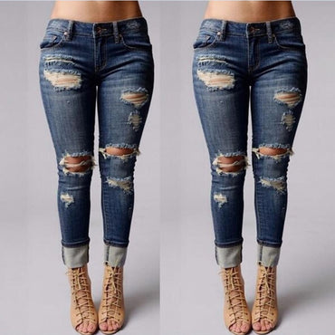 Mid Waist Button Fly Ripped Denim jean