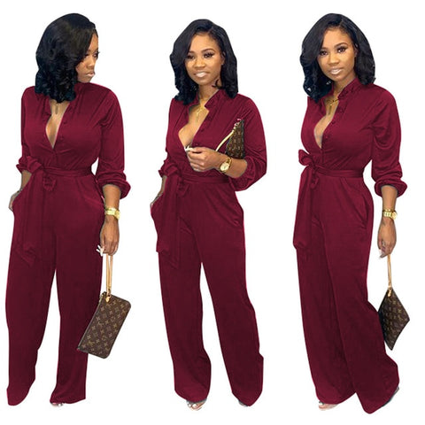 long-sleeved cardigan strap casual jumpsuit