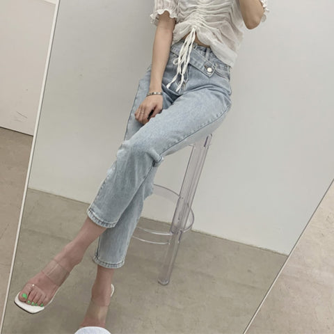 Mid Waist Button Fly Jeans