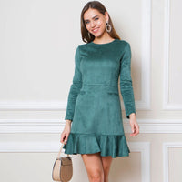 o neck long sleeve elegant party dress
