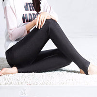 Solid Slim Pants Lady fleece Warm Leggings