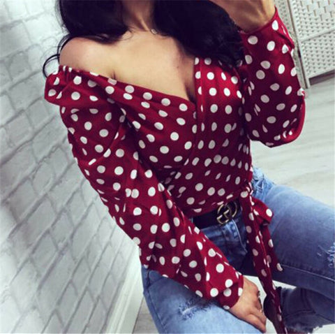 Slim Deep V Neck Lace up Polka Dot Lady Tops Long Sleeve Casual Blouse