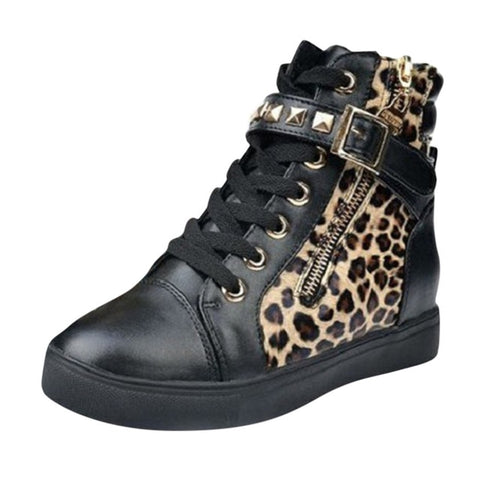 Casual High Top Leopard Printed Increasing Zipper Sport shoes & sneakers