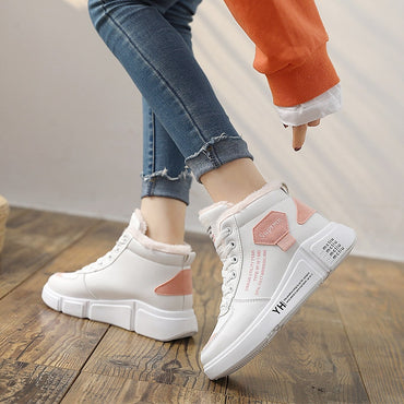 PU leather waterproof warm plus velvet chunky shoes & sneakers