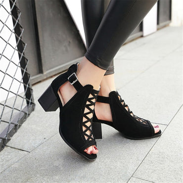 Open Toe Thick High Heels Shoes Soft Leather Comfort Sandals
