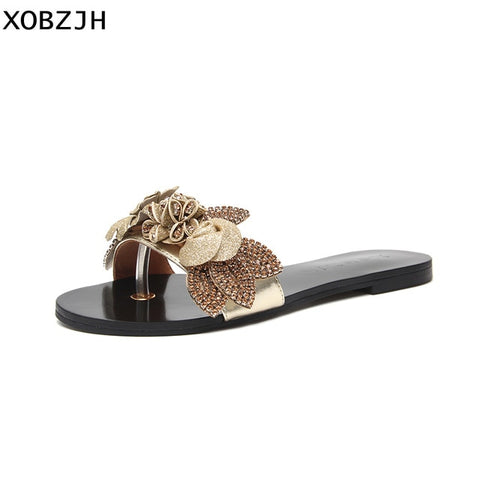 Bohemian Party Gold Slip on Slippers Shoes Woman Flower Luxury Brand Sandals