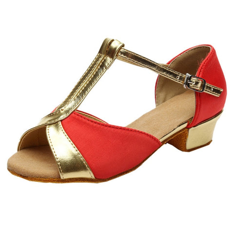 Thick Low Heel Sliver Gold Red Sandals